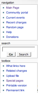 Example sidebar, shown on the left of the page