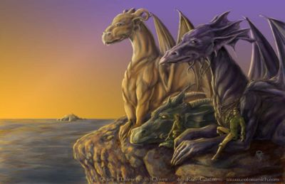 Temeraire, Lily and Maximus in Dover by Rob Carlos