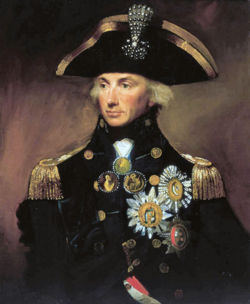Nelson, by Lemuel Francis Abbott, with his chelengk in his admiral's hat
